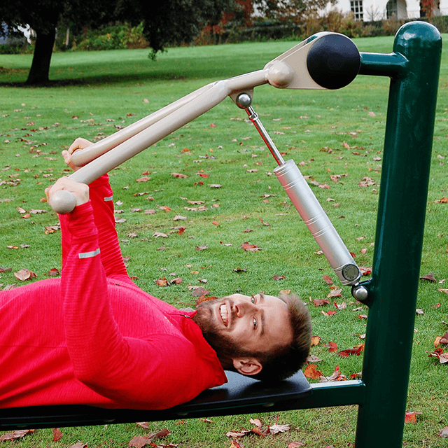 Man using Fresh Air Fitness Resistance Bench Press in Outdoor Gym 1