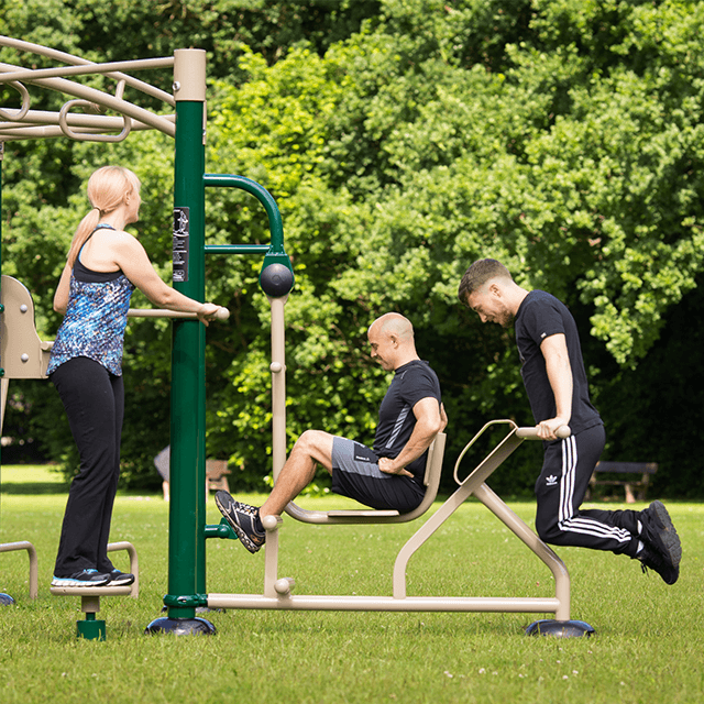 Our outdoor fitness rig in use