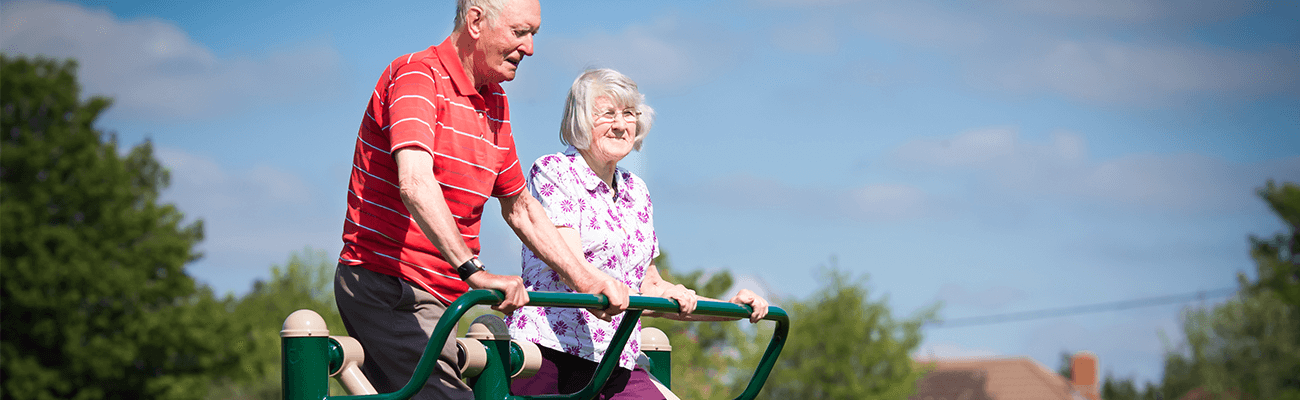Senior outdoor fitness users