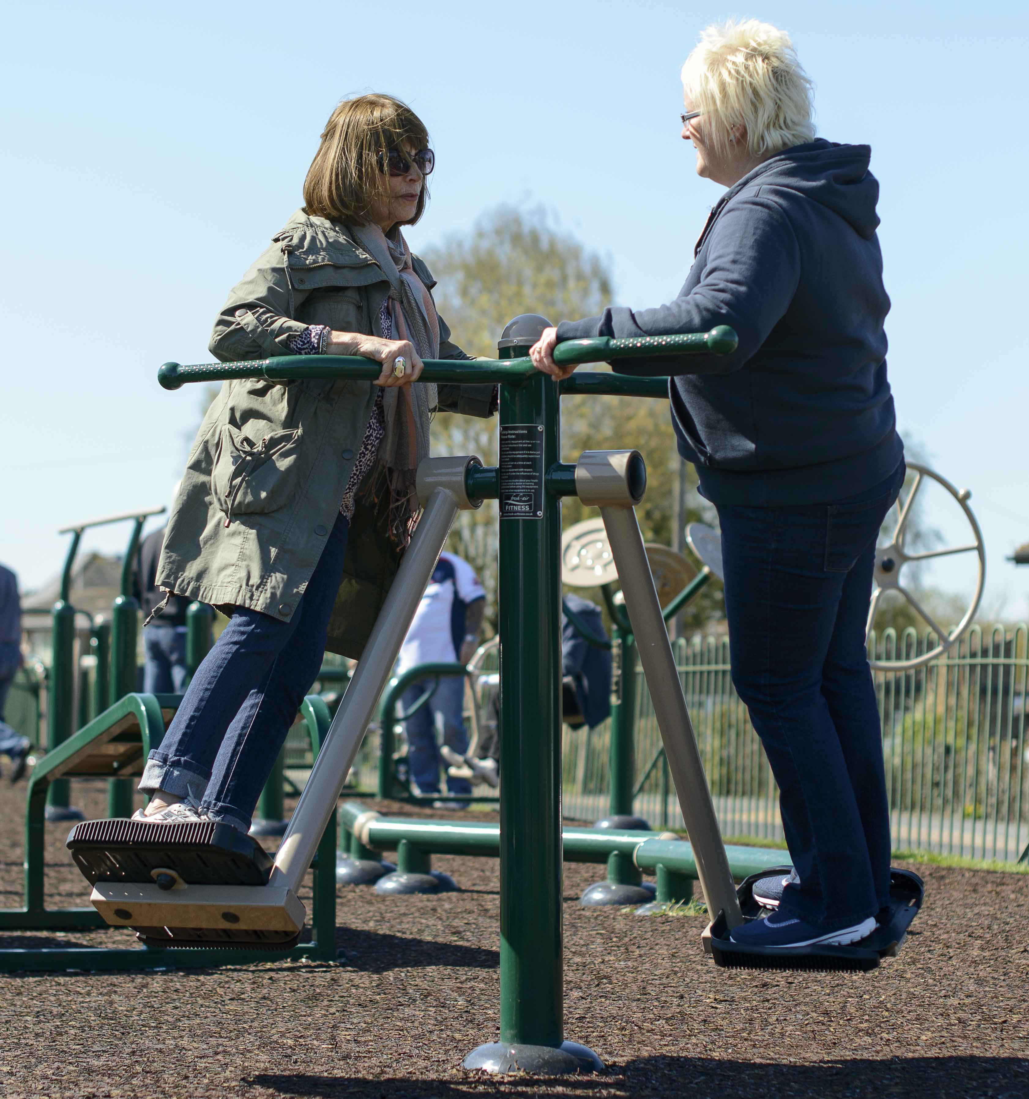 Women using outdoor gym specialists
